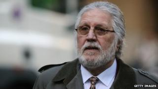 Dave Lee Travis arriving at court on Tuesday