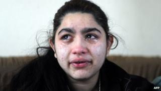 Leonarda Dibrani, 15, cries in her house in Mitrovica on 28 January 2014