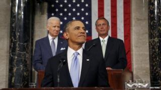 US President Barack Obama delivering the State of Union address