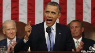 US President Barack Obama delivers his State of the Union speech on Capitol Hill, Washington