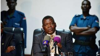 South Sudan's Minister for Justice Paulino Wanawila speaks to the media during a press conference in Juba on 28 January. He answered questions on the arrest of opposition leaders who he said had tried to stage a coup