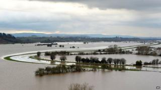 Flooded fields around the River Tone in Somerset
