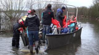 Humanitarian boat from Muchelney to Langport