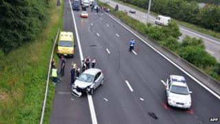 An accident following a police chase on a French highway in Belgium in 2012