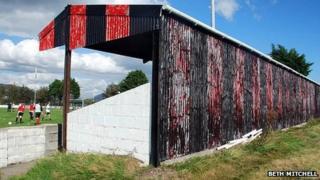 Porthmadog Football Club stand in 2010