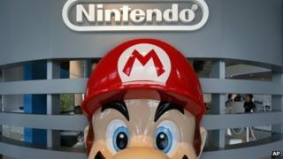 Nintendo office with Super Mario figure