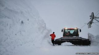 Banks of cleared snow at Glenshee's Caenlochan tow