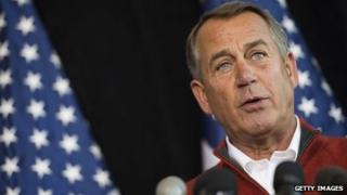 Speaker of the House John Boehner speaks during the House Republican Leadership press conference at the House Republican Issues Conference in Cambridge, 30 January 2014