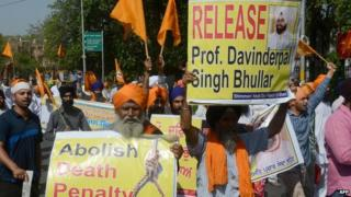 File photo of protest in support of Devinder Pal Singh Bhullar