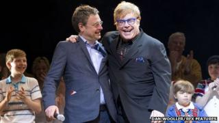 Lee Hall (left) and Sir Elton John