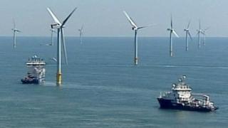 Boats service the Greater Gabbard wind farm