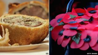 Pies at the Pie Awards and a poppy wreath