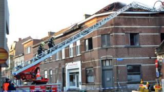 The scene of the fire at a student resident in Leuven