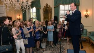 David Cameron at a reception for women in the media
