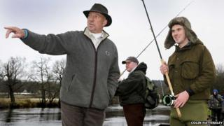 Sir Ian Botham, on the River Teith