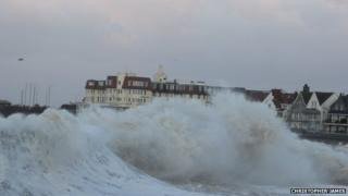 Large waves in Porthcawl, South Wales