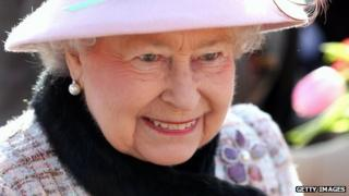 Queen Elizabeth at church at West Newton on February 2 in King's Lynn