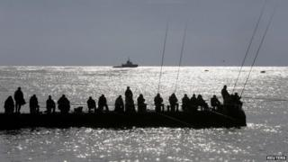 Fishing on the beach at Sochi