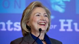 Hillary Clinton smiles during the 2013 Lantos Human Rights Prize ceremony in Washington on December 5, 2013.