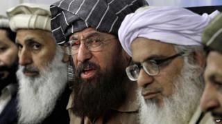 Three leading Pakistani clerics and members of a committee nominated by the Taliban to conduct talks with the government - Ibrahim Khan, Maulana Sami-ul-Haq, and Maulana Abdul Aziz - give a news conference in Islamabad, Pakistan, on 3 February 2014