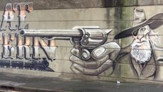 Great Western gun graffiti in Dorchester