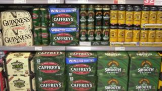 Beer on a supermarket shelf