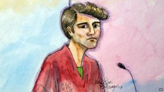 An artist rendering showing Ross William Ulbricht during an appearance at Federal Court in San Francisco is shown. 4 October 2013