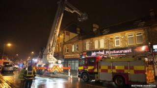 Fire crews deal with an unsafe chimney on City Road, Cardiff