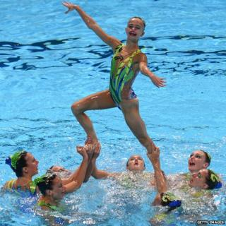 Britain's synchronised swimming team compete in the FINA World Championships in 2013.