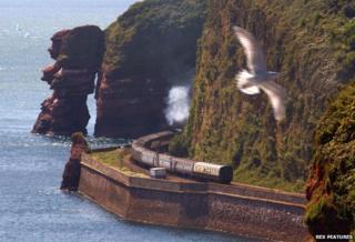Train snaking along the Devon coast