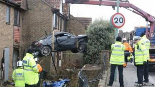 Car being removed from Portslade crash