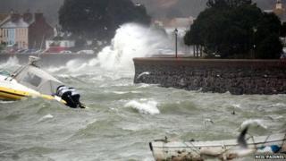 Waves hitting Gorey in Jersey