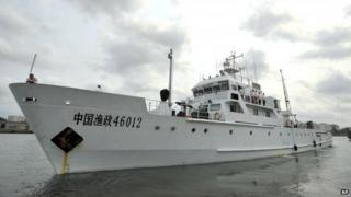 Chinese fishery ship about to patrol waters off Paracel Islands and Scarborough Shoal in South China Sea. March 2013