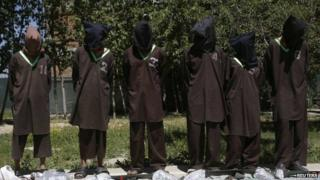 Insurgents suspected of being from the Haqqani network are presented to the media at the National Directorate of Security (NDS) headquarters in Kabul May 30, 2013