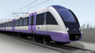 A mock-up of one of Bombardier's Crossrail trains