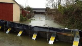 A flooded farm in Moor Land, Somerset