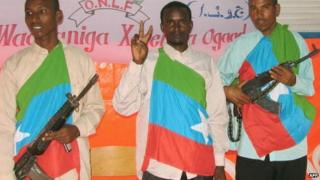 ONLF rebels draped in the ONLF flag pictured in Somalia in 2006
