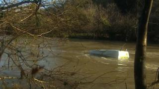 Semi-submerged van, Gunnislake, 1 February