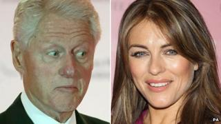 Composite image of Bill Clinton and Liz Hurley