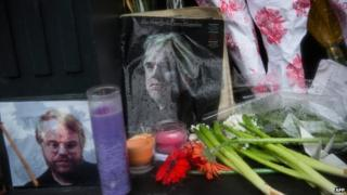 Shrine to Hoffman outside his apartment