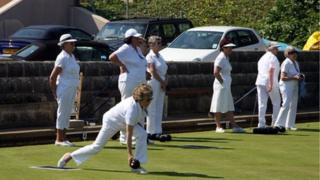 pensioners playing bowls