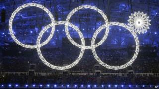 One of the rings forming the Olympic Rings fails to open during the opening ceremony of the 2014 Winter Olympics in Sochi, Russia (7 Feb. 2014)