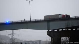 Lorry blown over on the M4 Briton Ferry bridge