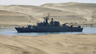 Iranian navy frigate IS Alvand passes through the Suez Canal at Ismailia, Egypt (Feb 2011)