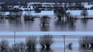 Flooded fields at Burrow Mump, at Burrowbridge, on the Somerset Levels
