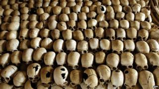 A file photo taken on 27 February 2004 shows skulls of victims of the Ntarama massacre during the 1994 genocide, lined at a memorial site in Rwanda