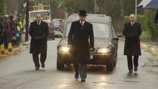 Funeral cortege at the Archbishop Tenison School