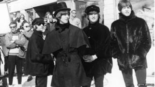 The Beatles filming Help!
