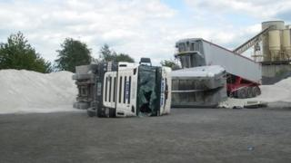 The overturned trailer which caused David Astley's death