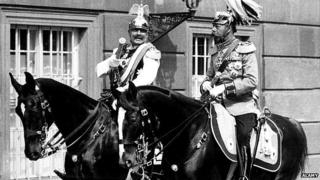 Germany's Wilhelm II and Britain's King George V horse riding in Berlin